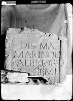Top of GRAVESTONE with five lines of Latin inscription (of Marius and Valentus, brothers slaves)