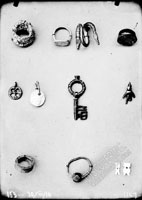 Bronze ware: rings, finger-rings, pendants, key, ear-ring from the excavatons of necropolis