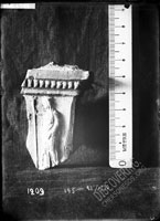 Terracota ALTAR, three-sided, with relief images of deities. Face side